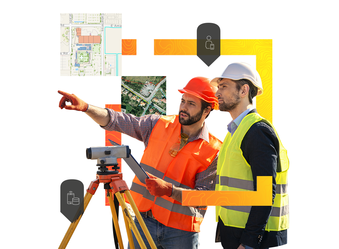 Men using surveying equipment to gather data