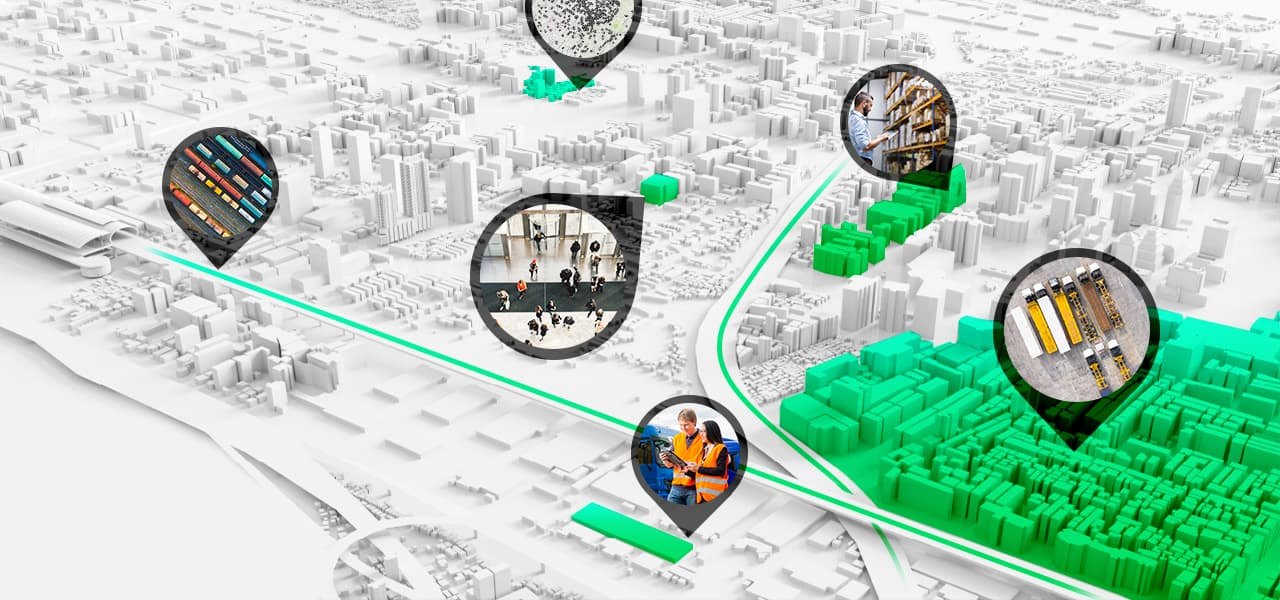 3D digital map of a city shows data about how a business is performing in various locations