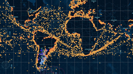 Map of the world's oceans showing the locations of fishing vessels