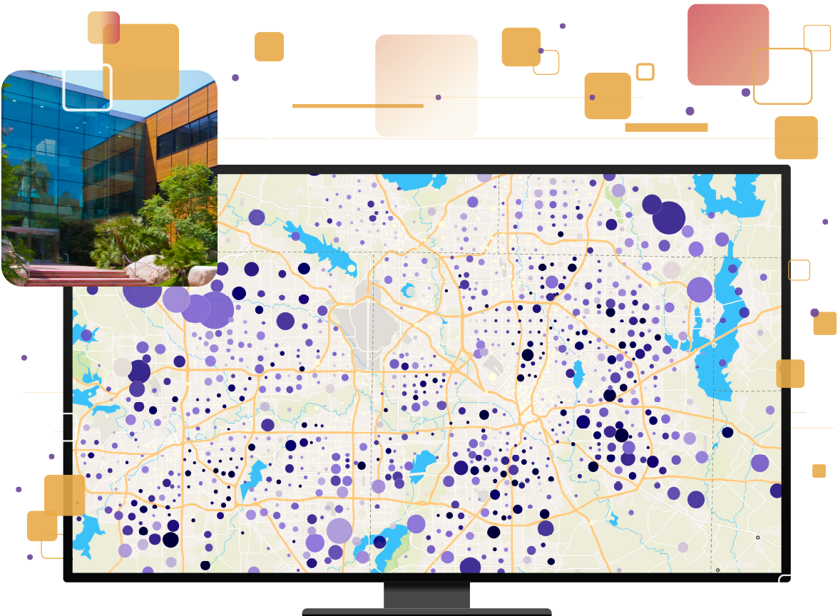 Orange squares overlaid on purple background with map image of important places and Esri headquarters in Redlands