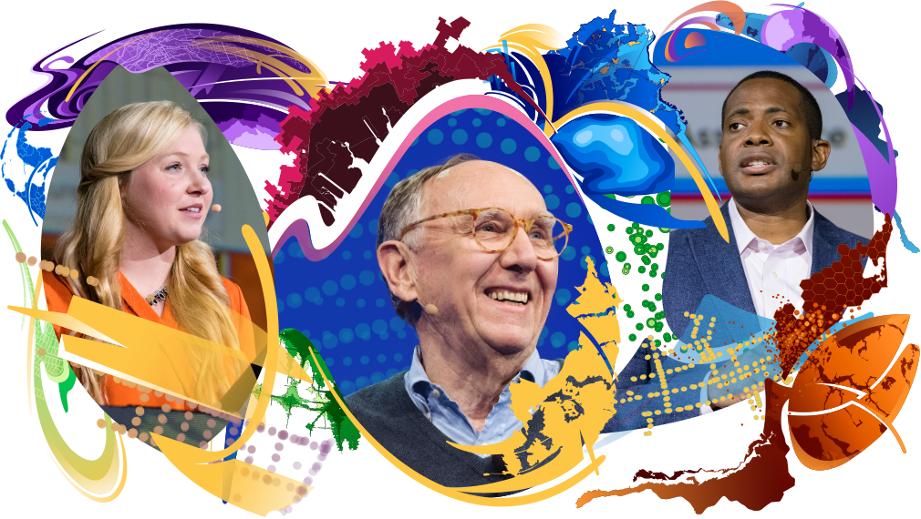 Headshots featuring Jack Dangermond and two other presenters surrounded with swirling, colorful map designs