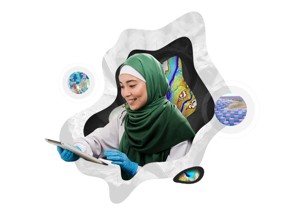 Woman wearing a green hijab and wearing blue latex gloves while holding a tablet, map graphic, and three small circular maps