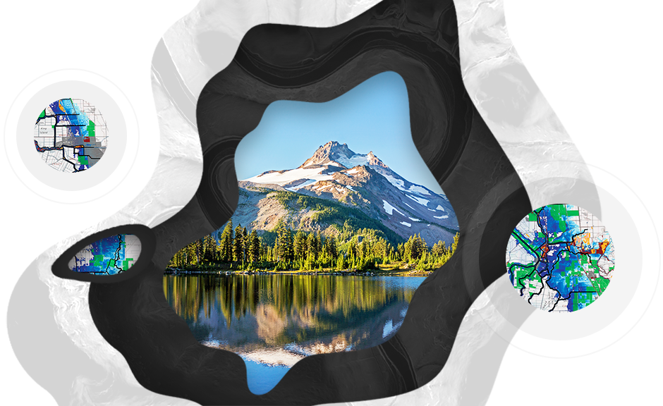 Snow covered mountain top reflected in lake surrounded by evergreen trees and circle designs with inlayed map grids