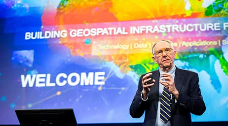 Esri president Jack Dangermond speaking at a conference