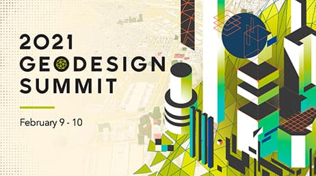 "A green and navy graphic of a geometric cityscape with text that reads, ""2021 Geodesign Summit, February 9–10"""