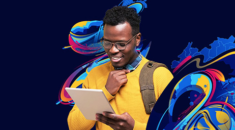 A dark blue graphic with a map and abstract designs in blue, red, and yellow overlayed with a person in a bright yellow sweater reading on a tablet