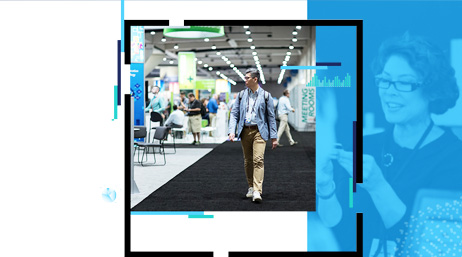 A person with a backpack walking at an indoor conference overlayed on a blue gradient photo of a person looking at something they are holding