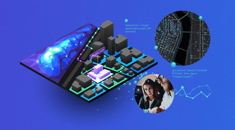 A blue graphic overlayed with a 3D layout of a city grid split with a topographic map and surrounded by two circles showing a black map and a photo of two people