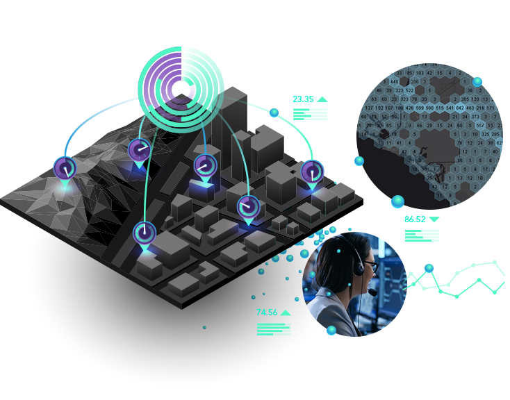 Woman with a headset at a computer and gray 3D image with clock icons, blocks, and numerical data