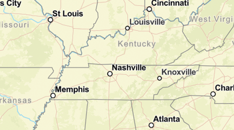 Map of Tennessee, Kentucky, Georgia
