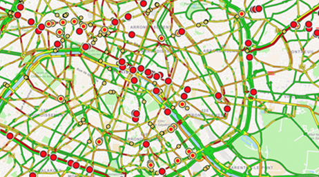 Street grid map with dots
