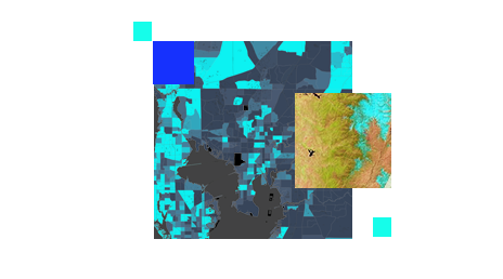 Computer-generated map in shades of blue