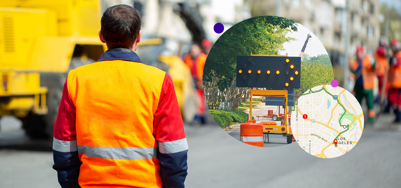 Construction worker with orange vest on road