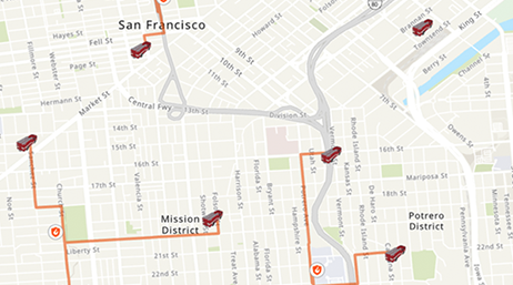 San Francisco street map with multiple roads highlighted in orange