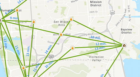 Street map of San Francisco area with multiple routes highlighted in green