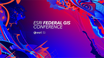 Blue and red abstract PowerPoint slide with the words Esri Federal GIS Conference