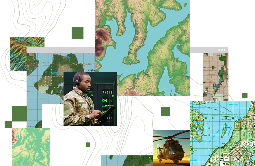 Collage of images, including a helicopter, topographic map, a map with coordinates, and a military member working on a tablet