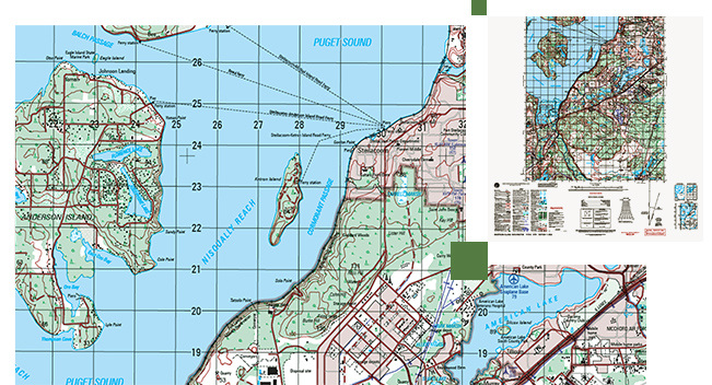 Street map of Puget Sound and surrounding areas, including ocean, land, and streets