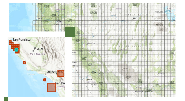 Large grid map of Great Basin and smaller image of California land between San Francisco and San Diego