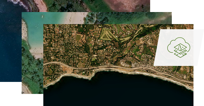 Three overlapping aerial photographs of coastline cities and towns
