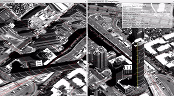 Two black and white images side by side of a tall building in an urban area with a 3D image of the building on the right