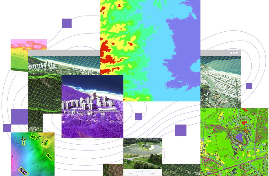 A collection of imagery that includes 2D and 3D representations of cities, land, and water and multidimensional data