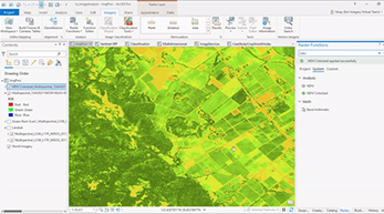 A multispectral image of a field with green land within ArcGIS Pro