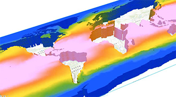 A multicolored 2D representation of the world showing sea surface temperatures over time and at various depths