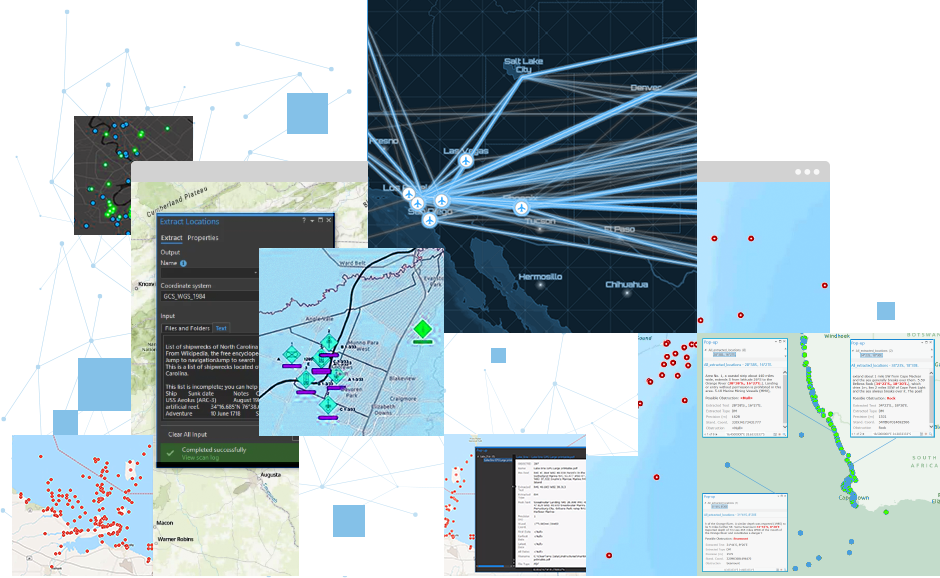 A series of maps with scattered data points showing airport origin and destinations for COVID-19 tracking