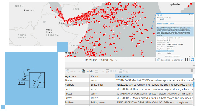 Gray land map with scattered red data points and textual data displaying under the map