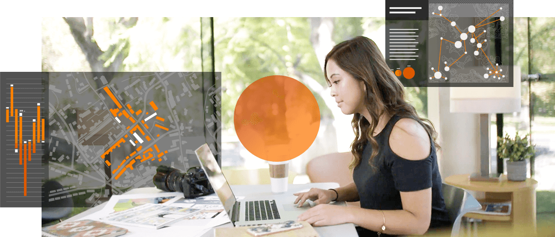 woman using arcgis maps for adobe creative cloud