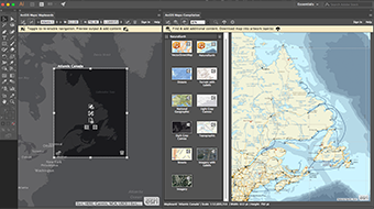 Compile your map by adding ArcGIS hosted content or your own local data.