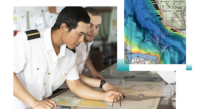 Vector chart and two men in white Navy uniform