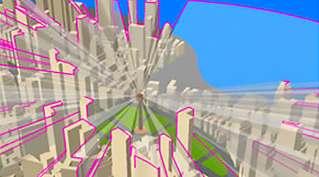 3D image of an urban setting with multiple buildings and pink outlines