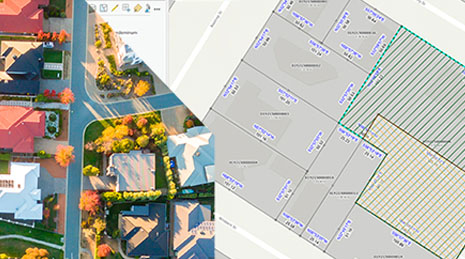 Aerial image of a neighborhood with houses and trees next to parcel fabric data image with numerical data