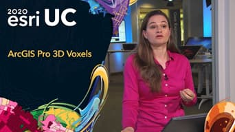 Esri 2020 UC graphic next to a woman in a pink dress