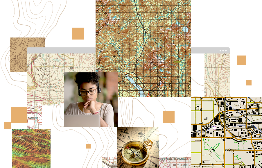 Collage of images, including a compass, a young girl working on a laptop, a street map, and a topographic map