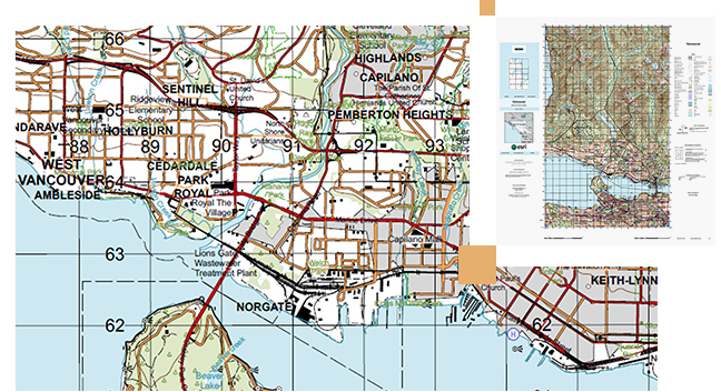 Street map of water and land in West Vancouver with streets marked in red and orange lines and a small grid map with boxes