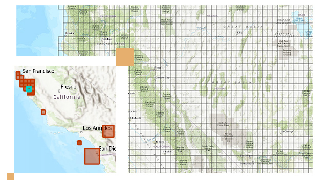 Grid map of the Great Basin with boxes and a topographic image of California from San Francisco to San Diego
