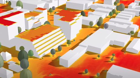 3D image of white buildings, orange ground, and green trees and bushes