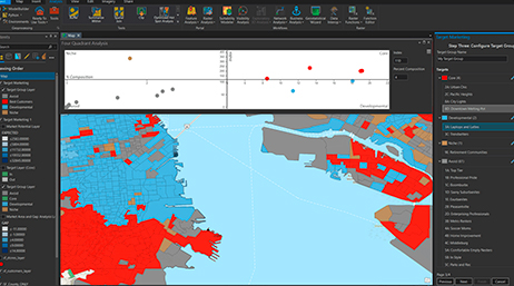 Screenshot of Target Marketing tool in the ArcGIS Business Analyst extension with a red and blue map and a graph
