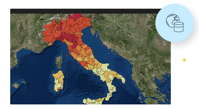 Map of Italy with regions marked in red, orange, and yellow, and surrounding blue ocean