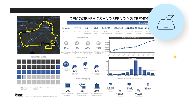 Report showing demographic and spending trends data with charts and statistics