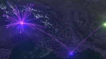 Satellite image of land with purple connecting dots
