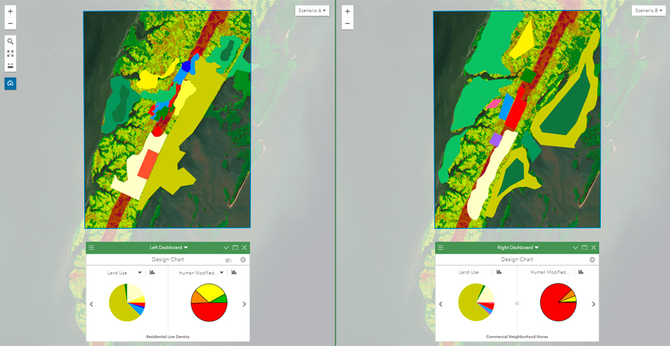 Pie graphs and side-by-side digital maps in ArcGIS GeoPlanner representing multiple design proposals