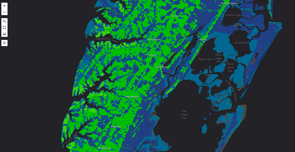 Blue and green digital map displayed in ArcGIS GeoPlanner
