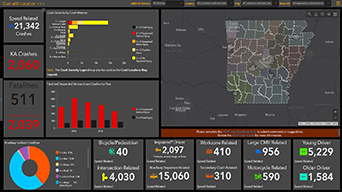 Computer dashboard view with charts and map