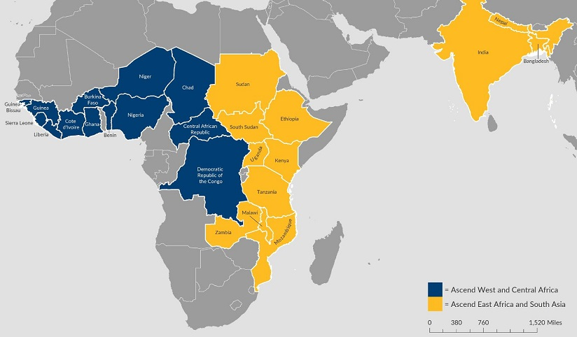 Blue, yellow, and grey map of Africa and surrounding areas supported by Ascend