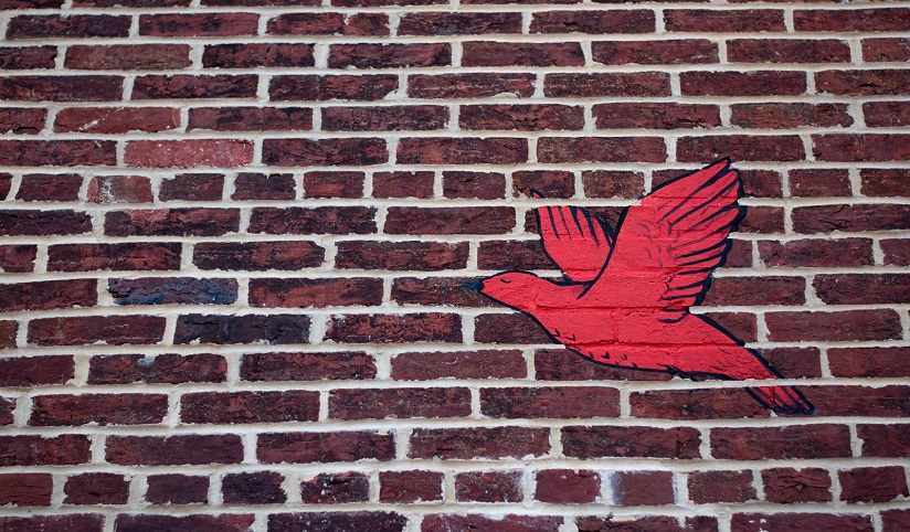 A flying red bird painted on a maroon brick wall
