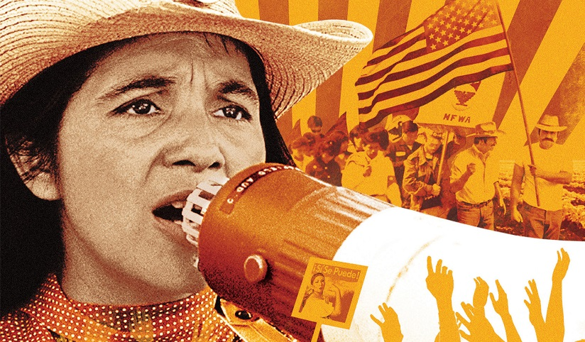 An illustration of Dolores Huerta with a megaphone with background images of civil rights events